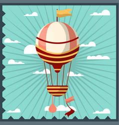 airballoon isolated in sky colorful card with vector image vector image