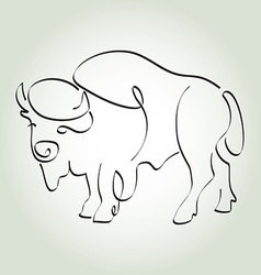 Bison in minimal line style vector image vector image