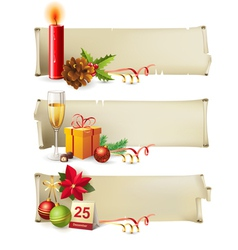 Christmas paper banners vector image vector image
