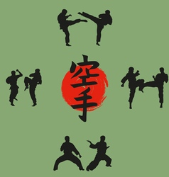 group of men demonstrates karate vector image