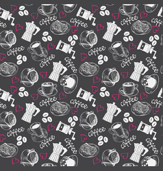 pattern with sketch of coffee theme vector image