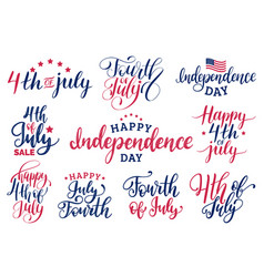 Set fourth of july hand lettering vector
