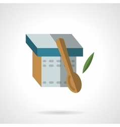 Yogurt and spoon flat icon vector image