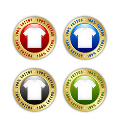 100 cotton t-shirt badges or icons isolated vector