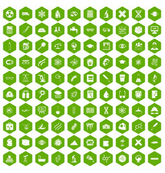 100 microscope icons hexagon green vector image