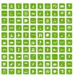 100 summer vacation icons set grunge green vector image