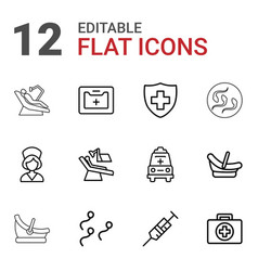 12 clinic icons vector