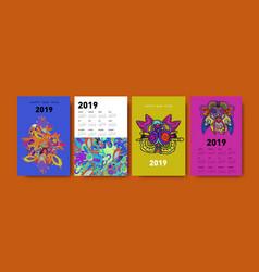 2021 calendar design template with ethnic vector
