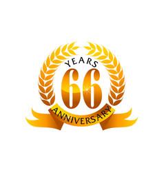 66 years ribbon anniversary vector