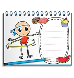A notebook with a sketch of a young child with a vector