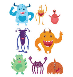 a set cartoon monsters collection happy vector image