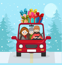 a young family is driving car with a bunch of vector image