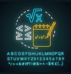 Algebra neon light concept icon advanced vector