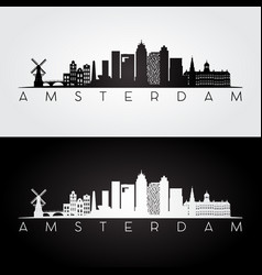 amsterdam skyline and landmarks silhouette vector image