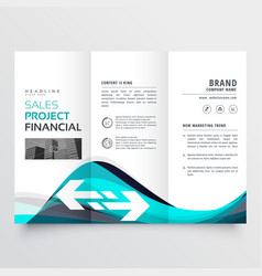 awesome blue trifold business brochure leaflet vector image