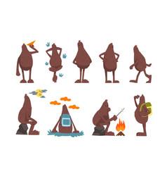 bigfoot cartoon character set funny mythical vector image