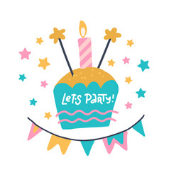 birthday party flat hand drawn lets party hand vector image
