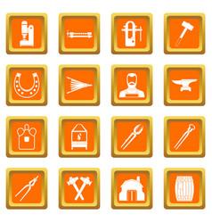 Blacksmith icons set orange vector