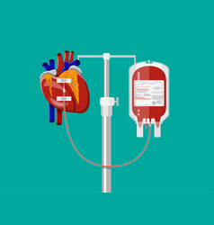 blood bag and heart at holder vector image