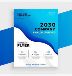 Blue abstract business annual report template vector