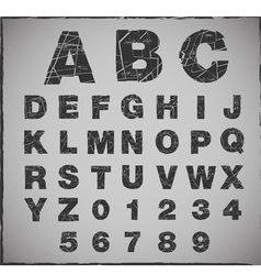 Broken alphabet with grunge texture set vector