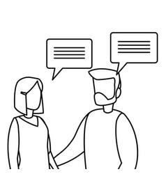 Business man and woman talking dialogue vector