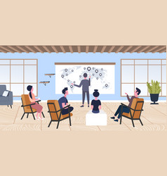 Businessman pointing geo tag on world map vector