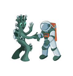 cartoon alien meeting and handshake in space vector image