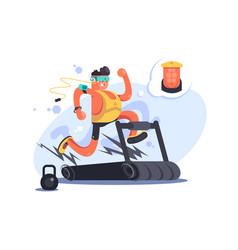 cartoon boy running on treadmill vector image