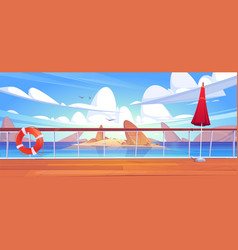 Cartoon seascape view from cruise ship deck vector