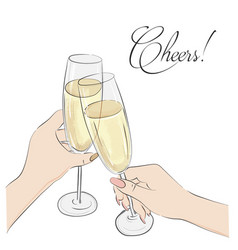 Cheers glasses with champagne vector
