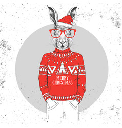 christmas hipster fashion animal rabbit vector image