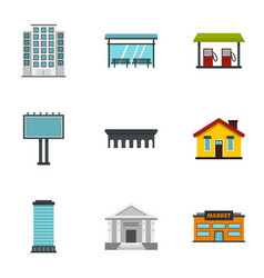 City buildings icons set flat style vector