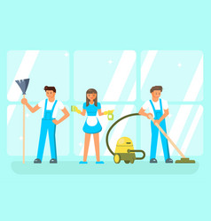 cleaning service staff characters vector image