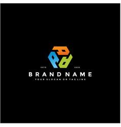 Colorful hexagon letter a logo design vector