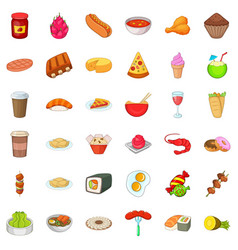 cooking kitchen icons set cartoon style vector image
