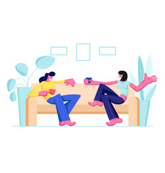 couple girl friends sitting on couch drinking vector image