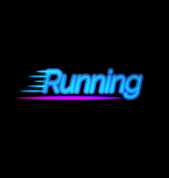 creative neon light running logo glowing sports vector image