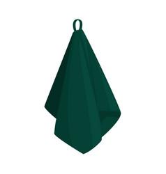 Dark green hanging towel isolated vector