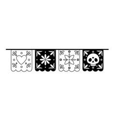 day dead pennants skull flower decoration vector image