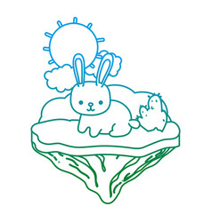 degraded line happy rabbit animal in the float vector image