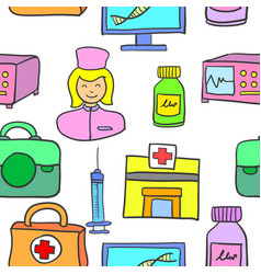 Doodle of medical element style various vector