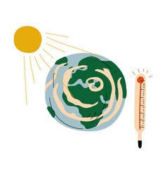 earth planet and thermometer global warming vector image
