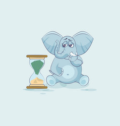 Elephant sticker emoticon sits at hourglass vector