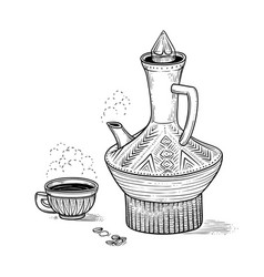 Ethiopian vintage coffeepot and figured cup with a vector