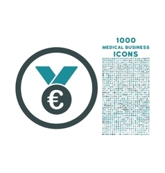 Euro Prize Medal Rounded Icon with 1000 Bonus vector image