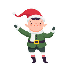 Fairy elf in red hat and striped stocking waving vector