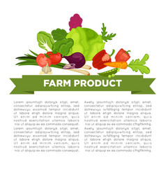 Farm product informative poster with vegetables vector