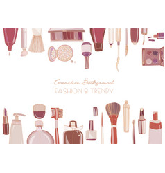 Fashion cosmetics horizontal background with make vector