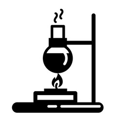 flask lab burner icon simple style vector image